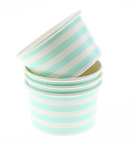 Mint Stripe Ice Cream Cups